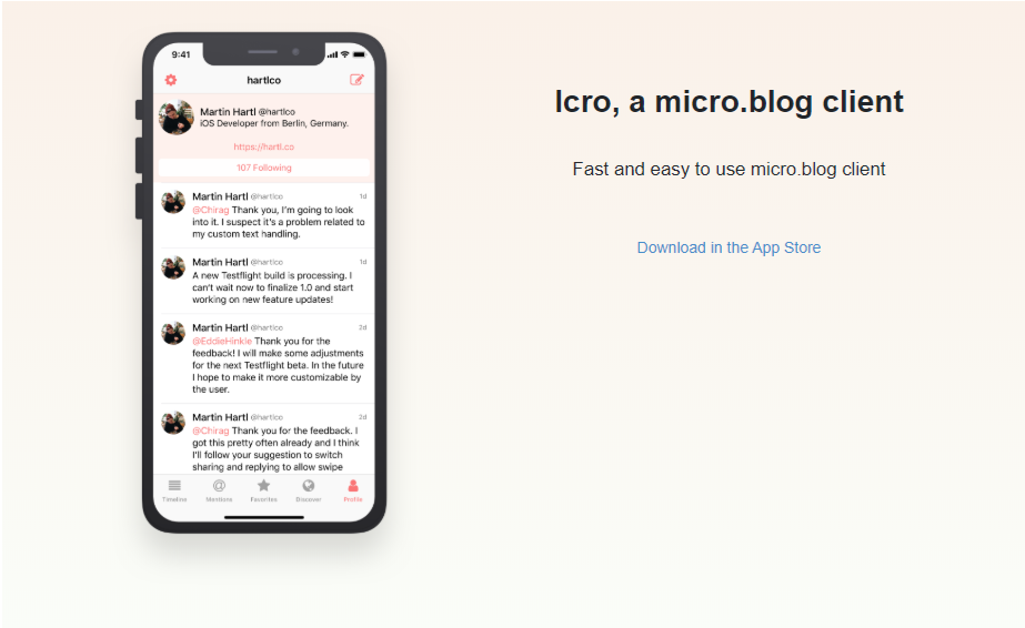 Screenshot of the web page for Icro.