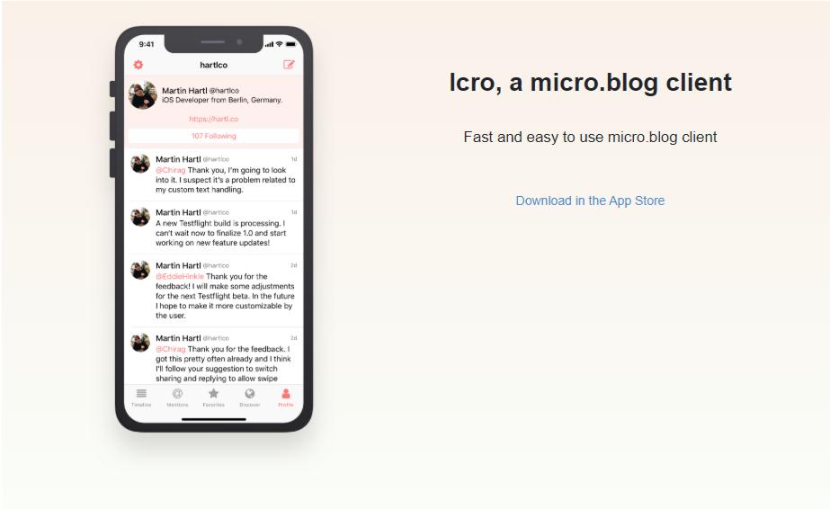 Screenshot of Icro web page.