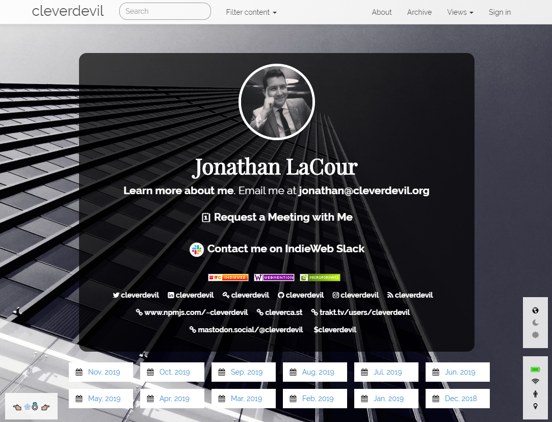 Screenshot of Jonathan's site, cleverdevil.